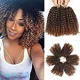 8 Inch Short Marlybob Crochet Hair 6 Packs/Lot Kinky Curly Crochet Braids Ombre Braiding Hair Synthetic Hair Extension (1B/30#)