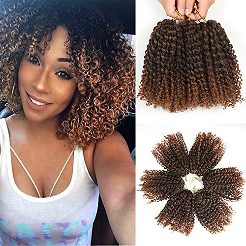 8 Inch Short Marlybob Crochet Hair 6 Bundles/Lot Kinky Curly Crochet Braids Ombre Braiding Hair Synthetic Hair Extension (1B/30#) (Weave Micro Loop Hair)