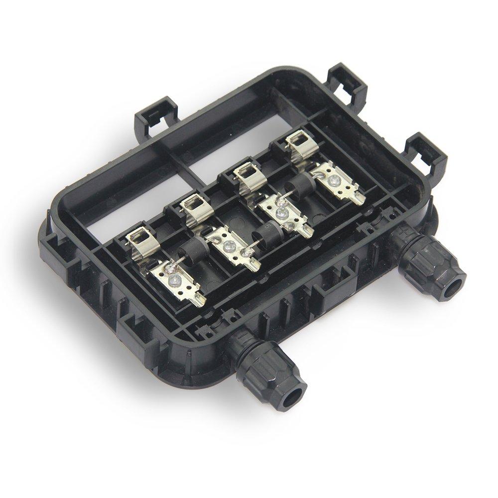 VIKOCELL 10W-50W Caja de Empalme Solar 6.5A IP67 Impermeable con 1 diodos para el Panel Solar