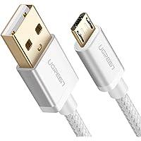 Cable USB a Micro USB, UGREEN Micro USB Cable Nylon Trenzado Rápido Cargador 3 Metro para Samsung Galaxy S7 / S6 / S5 / EDGE, Xiaomi, Huawei, HTC, Elephone, Oneplus, Nota 5 / 4 / 3, LG, Nexus, Nokia, PS4,Tablets, E-lectores y etc. (3m, Blanco)