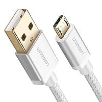 Cable USB a Micro USB, UGREEN Micro USB Cable Nylon Trenzado Rápido Cargador 2 Metro para Samsung Galaxy S7 / S6 / S5 / EDGE, Xiaomi, Huawei, HTC, Elephone, Oneplus, Nota 5 / 4 / 3, LG, Nexus, Nokia, PS4,Tablets, E-lectores y etc. (2m, Blanco)