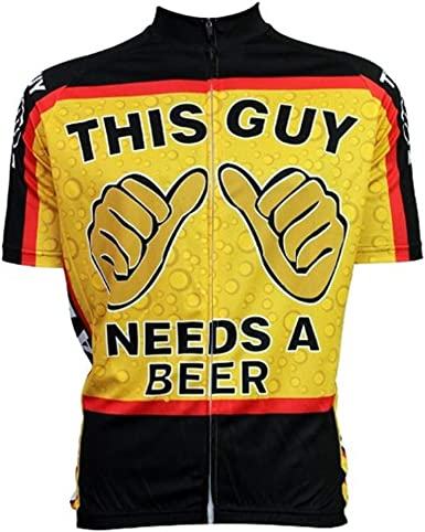 Mens Cycling Jersey This Guy Needs A Beer Short Sleeve Summer Bicycle Clothing Quick Dry MTB Jersey Cycling Shirts