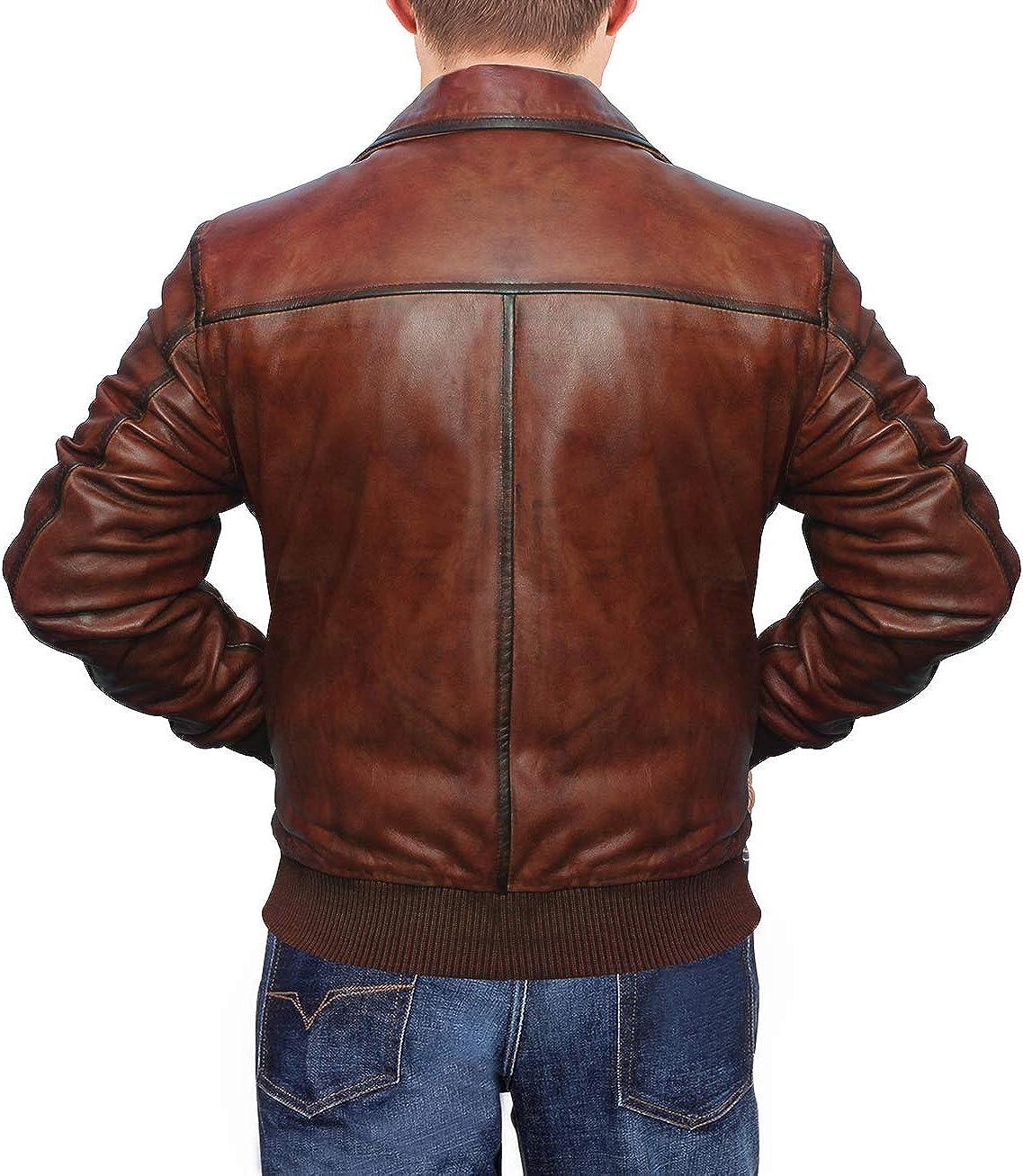 Mens Distressed Brown Vintage Bomber Leather Jacket