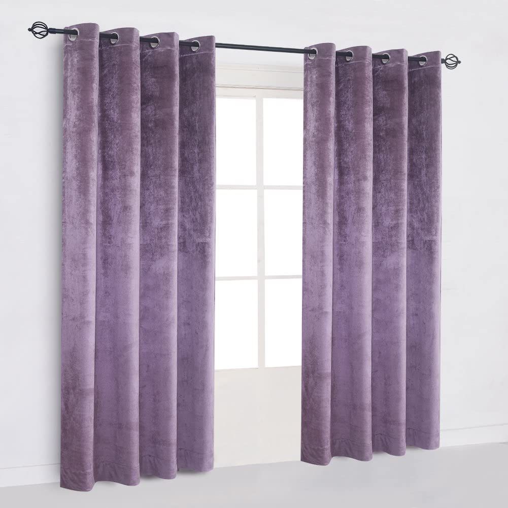 Cherry Home Large Size Lavender Velvet Flannel Blackout Curtain Panel Drape Grommet Drapery Eyelet 100Wx84L inch Purplish Pink(1 Panel) with Matching Pillow and Tieback