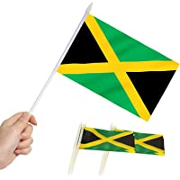 Anley Jamaica Mini Flag 12 Pack - Hand Held Small Miniature Jamaican Flags on Stick - Fade Resistant & Vivid Colors…