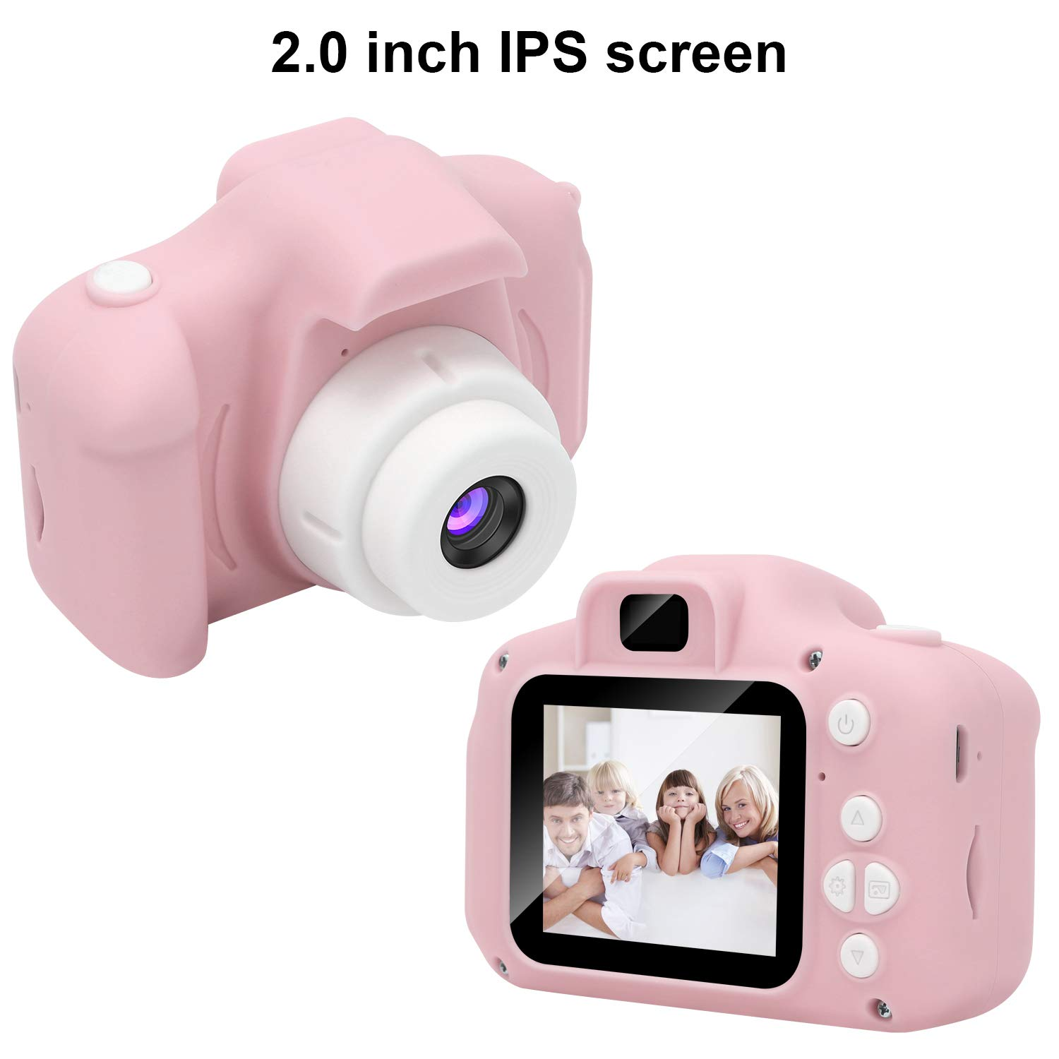 DDGG Kids Digital Camera for Girls Age 3-10,Toddler Cameras Child Camcorder Mini Cartoon Pink Rechargeable Camera Shockproof 8MP HD Children Video Record Camera (16GB Memory Card Included) by DDGG (Image #2)