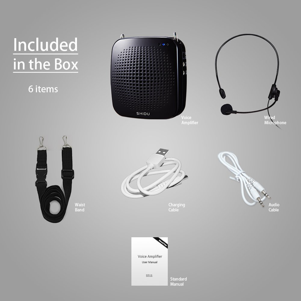 Amplificador de voz portátil 15W, personal con micrófono con cable Auriculares Altavoz de micrófono amplificador recargable para maestros, entrenadores, ...