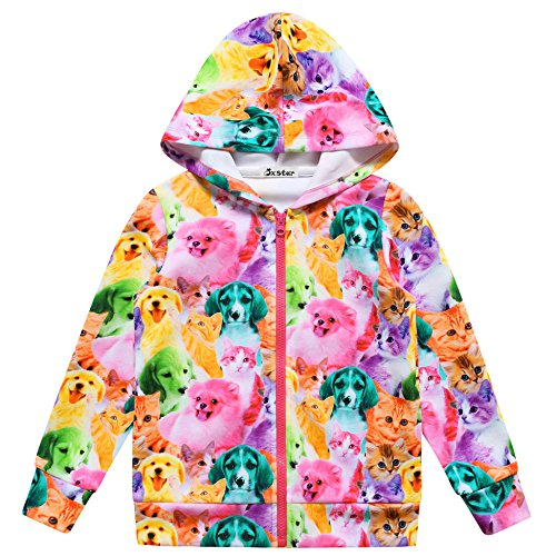 Jxstar Girl Coat Cat Dog Hoodie Print Jacket Bomber Animal Long Sleeve Full Zip by Jxstar