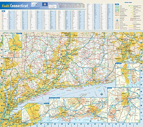 """Connecticut State Wall Map - 20.75"""" x 18.5"""" Matte Plastic"""