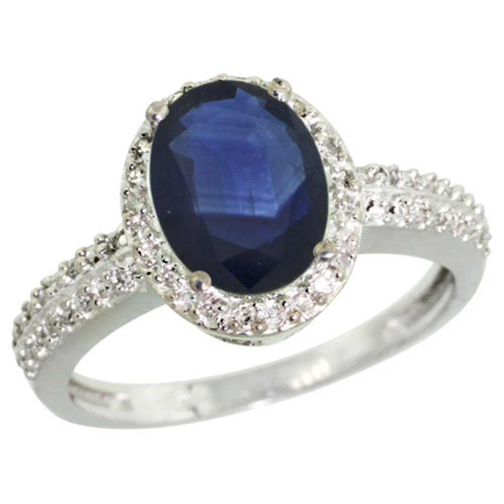 Sterling Silver Diamond Blue Sapphire Ring Oval 9x7mm, 1/2 inch wide, size 8