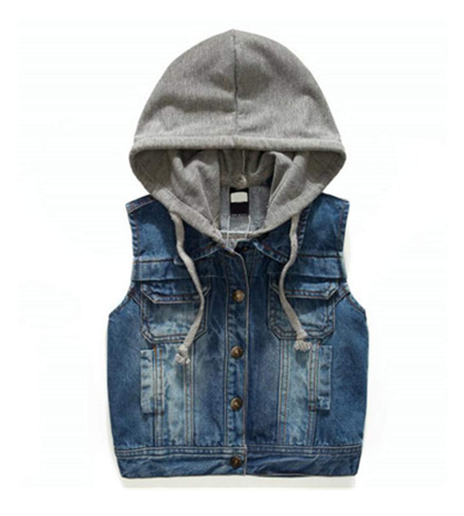 Gail Jonson Boys Vest Kids Waistcoat Children Jacket with Hood Top Cardigan Denim Outwear Blue 3T