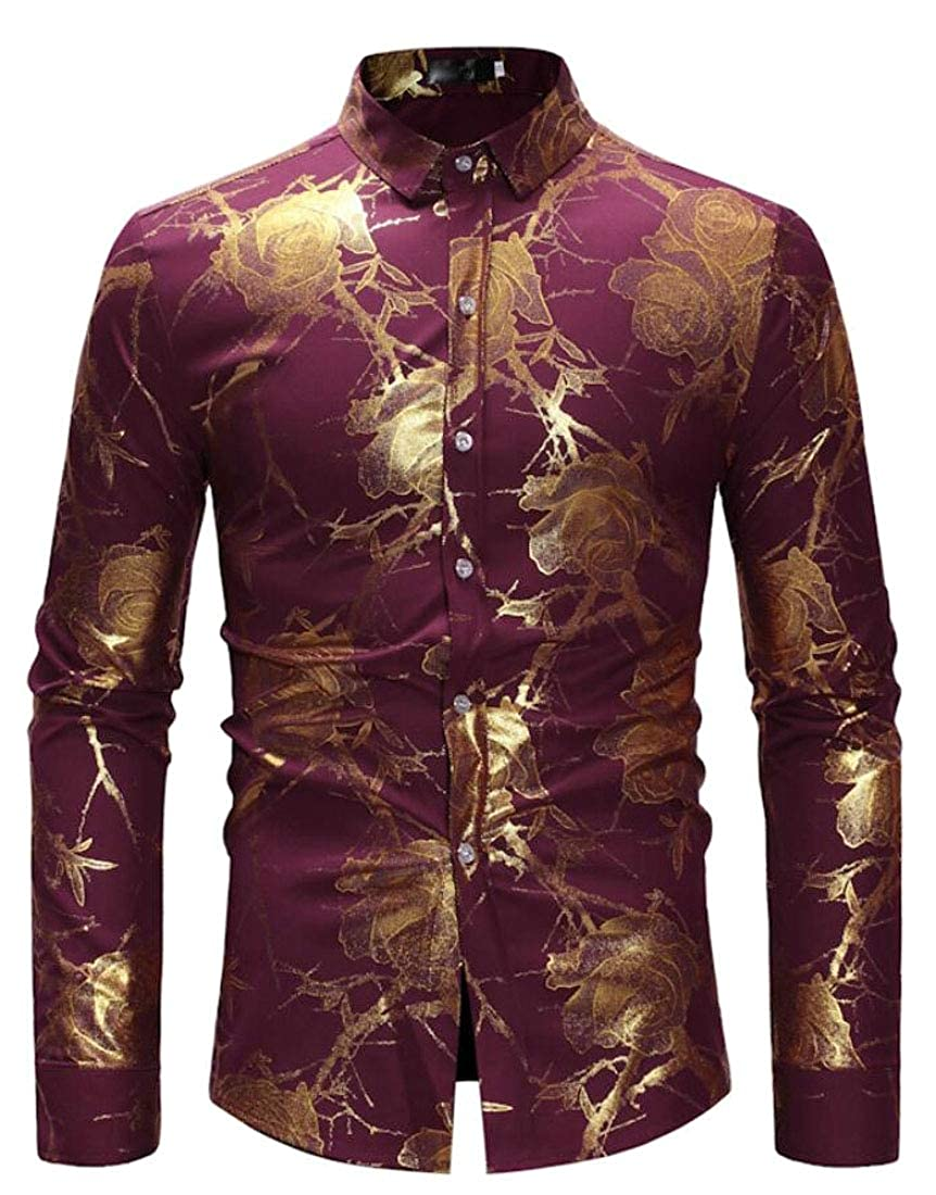 M/&S/&W Mens Business Print Casual Long Sleeves Dress Button Down Shirts