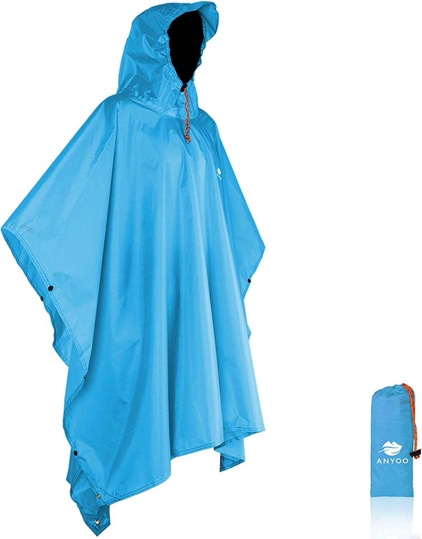 Anyoo Waterproof Rain Poncho Lightweight Reusable Hiking Hooded Coat Jacket for Outdoor Activities: Clothing