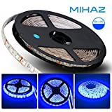 MIHAZ Blue Light Strip, Indoor Outdoor Lighting 5050 16.4ft 5M 300 Leds Waterproof Power Supply White PCB For Home and Kitchen Decoration Atmosphere Lighting