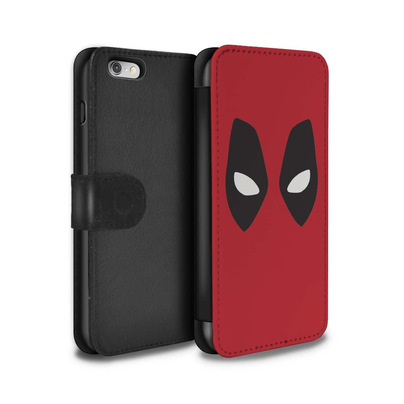 STUFF4 PU-Leder Hülle/Case/Tasche/Cover für Apple iPhone 6S / Deadpool Maske Inspiriert Muster / Superheld Comic-Kunst Kollektion