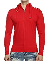 Tees Collection Men's Full Zip Buckle Neck Full Sleeve Red Colour T-shirt