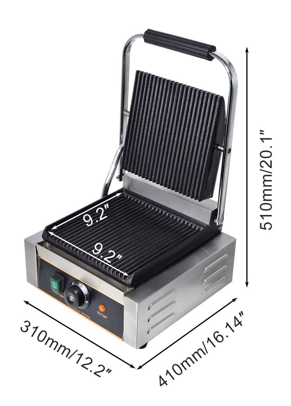 NJTFHU Commercia Sandwich Press Grill Electric Panini Maker Machine Non-Stick Cooking Surface Plate Faster Heat Temperature Control 122/°F-572/°F 1800W Stainless Steel Portable Home Kitchen Griddle