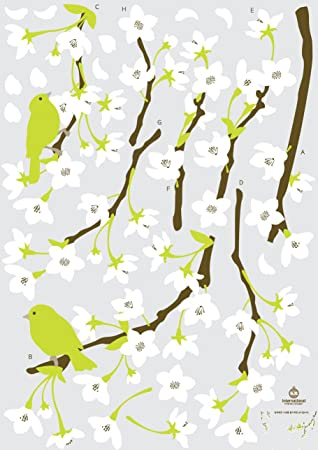Amazon Com Kr International Spring Flowers And Birds Wall Decal