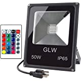 GLW 50w Remote Control RGB Flood Light, 4 Models with 16 Color Tones Spotlight, Dimmable Color Changing Outdoor Security…
