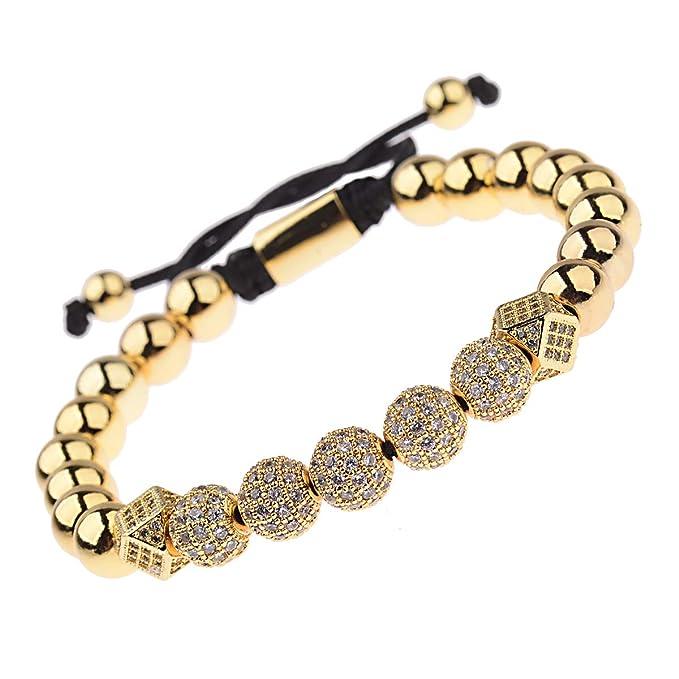 cf398d76ce9df DOUVEI Luxury CZ Braided Copper Beaded Bracelets 8mm Micro Pave Cubic  Zirconia Beads Pulseira Bangle Charm Jewelry Women Men