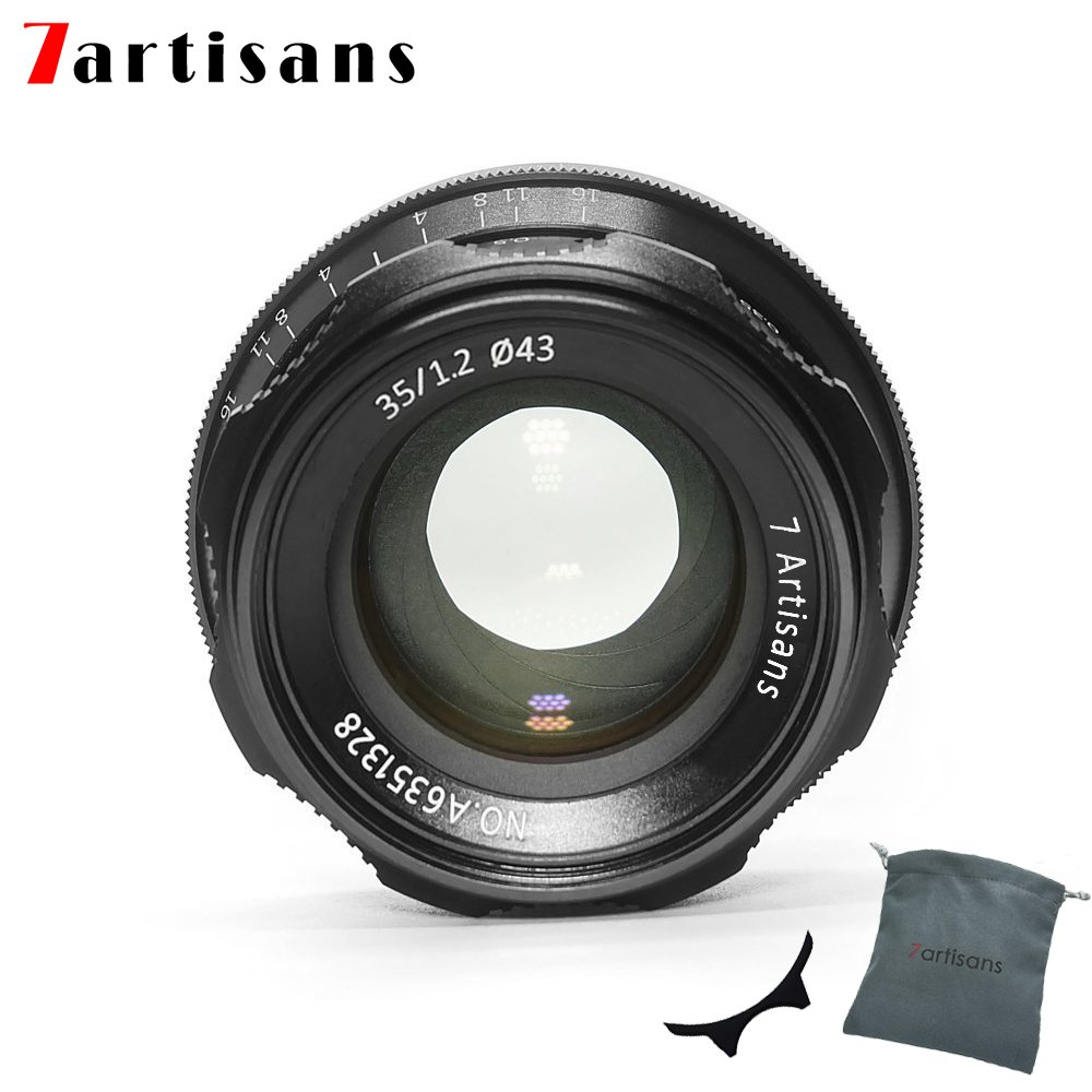 7artisans 35mm F1.2 APS-C Manual Focus Lens Widely Fit for Compact Mirrorless Cameras Fuji X-A1 X-A10 X-A2 X-A3 A-at X-M1 XM2 X-T1 X-T10 X-T2 X-T20 X-Pro1 X-Pro2 X-E1 X-E2 E-E2s (Black) by 7artisans