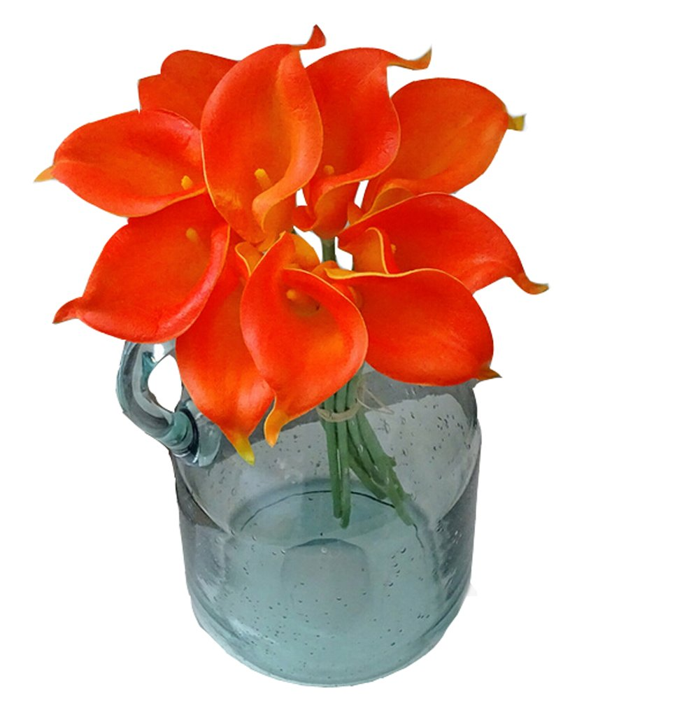 Flyusa 10 Pcs Calla Lily Bridal Wedding Bouquet Head Real Touch Flower Bouquets Artificial Flowers for Home Party Decoration(Orange)