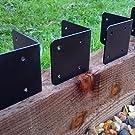 4 X CORNER Timber Railway Sleeper Brackets Wooden Planter Raised Bed Edging - Black