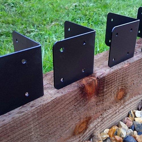 4 X CORNER Timber Railway Sleeper Brackets Wooden Planter Raised Bed Edging - Black Indoor Outdoors