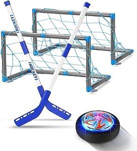 GEYUEYA Home Kids Toys - LED Hockey Hover Set 2 Goals Mini Screwdriver - Air Power Training Ball Playing Hockey Game - Hockey Toys 3 4 5 6 7 8 9 10 11 12 Year Old Boys Girls Best Gift