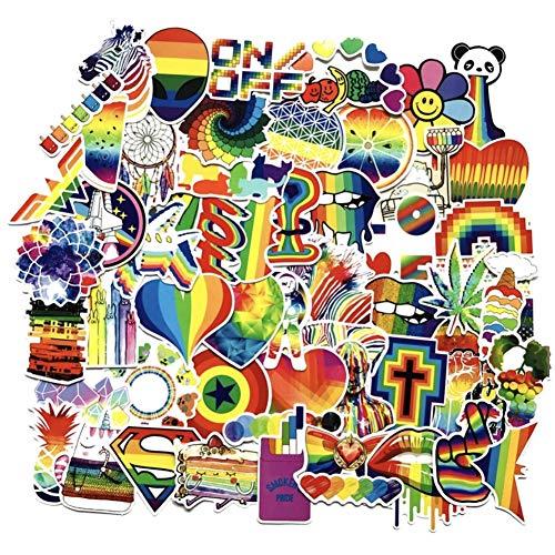 (CheeseandU 60Pcs Rainbow Color Gay Pride Sticker Waterproof PVC Bright Rainbow Stickers Water Bottle Car Bike Scooter Suitcase Phone Refrigerator Laptop Cup Motorcycle Walls Bedroom Furniture Stickers)