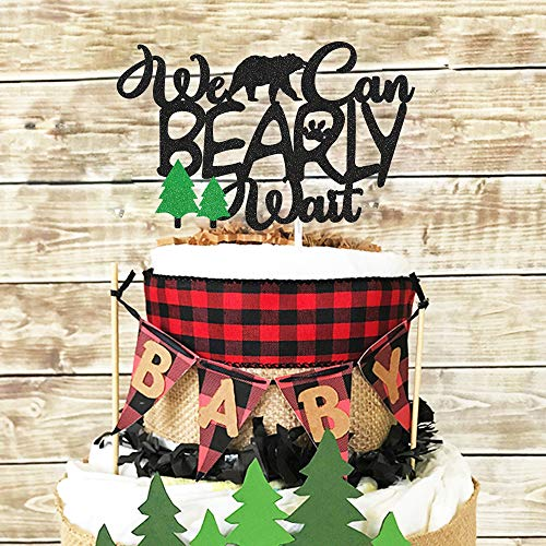 Lumberjack Baby Shower Cake Topper We Can Bearly Wait Diaper Cake Decoration Rustic Hunter Camping Themed Woodland Forest Baby Shower Party