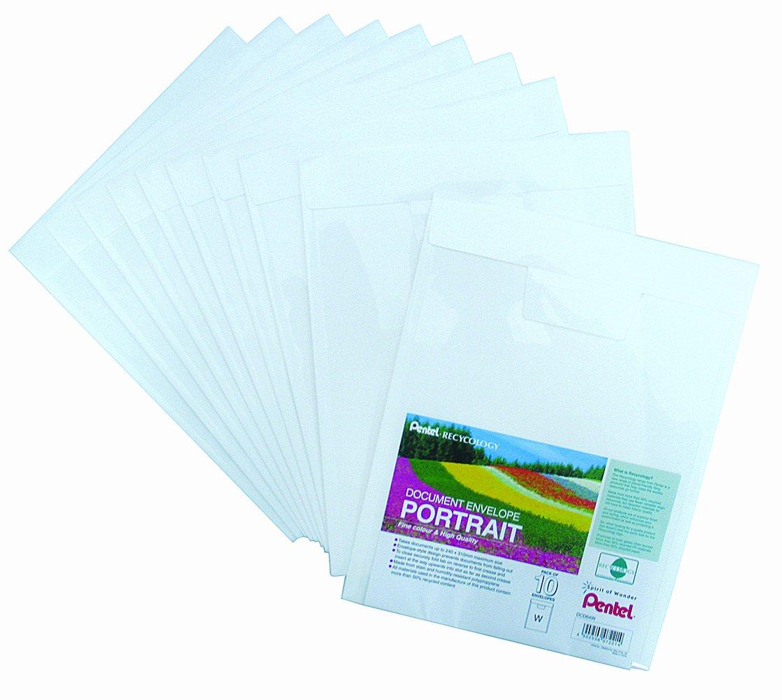 Pentel DCD64W Recycology - Portadocumenti a orientamento verticale, in plastica riciclata al 50%, formato A4, 10 pezzi, bianco