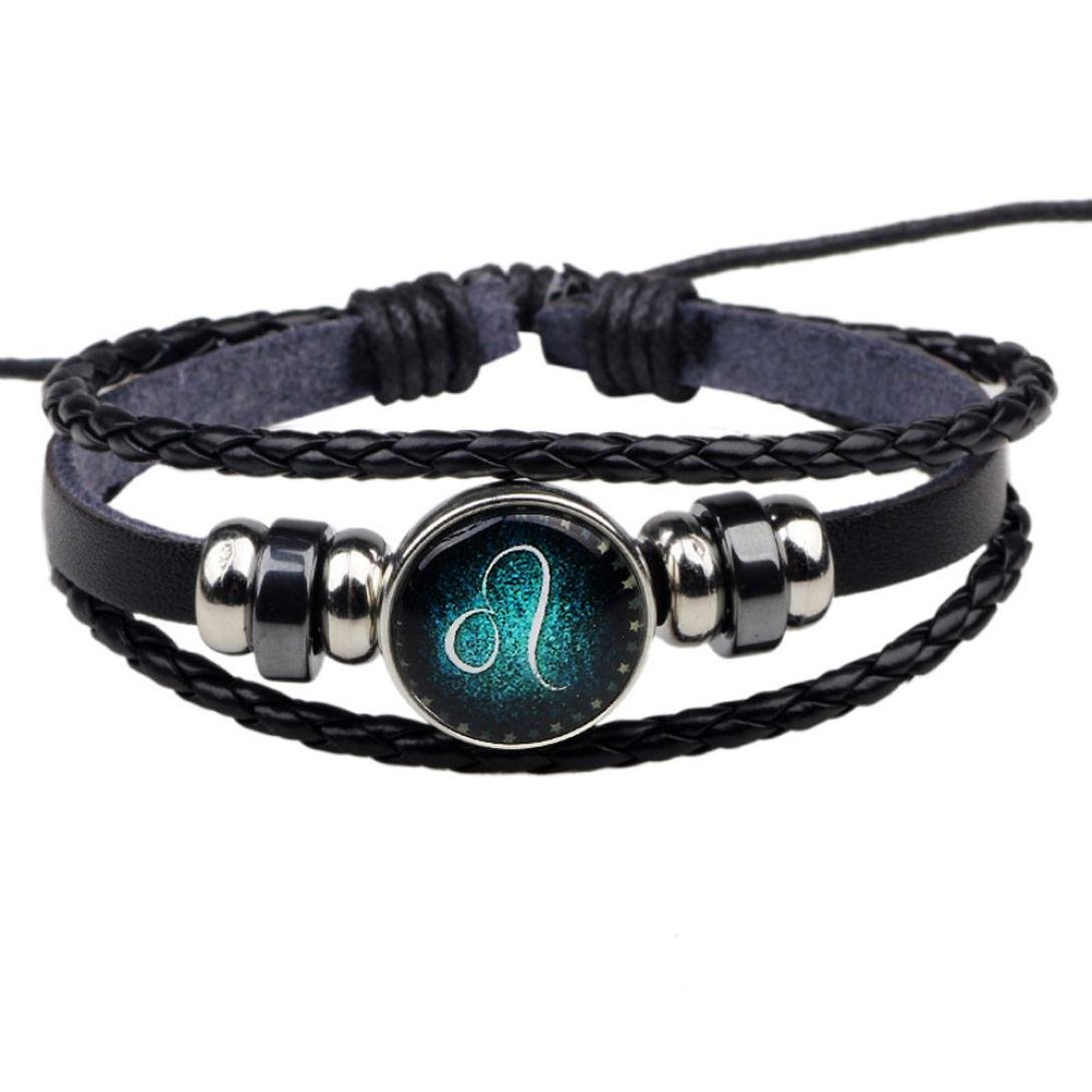 Besooly12 Constellations Beaded Hand Woven Leather Bracelet Ball Pendant Bracelet Gift Idea for Your Beloved Ones (Leo)
