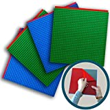 """Peel-and-Stick Baseplates - Self Adhesive Brick Building Plates - Compatible With Most Major Brands of Building Bricks - 4 pack (10"""" x 10"""") - By Creative QT (2 Blue, 2 Green)"""
