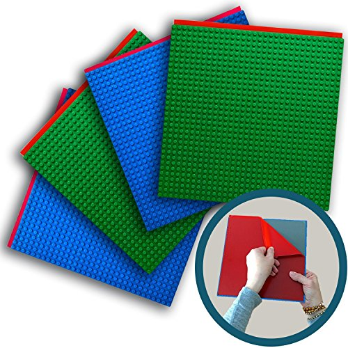 Blok Wall Mount (Peel 'n Stick Baseplates - Self Adhesive Brick Building Plates - No Glue Required - Compatible With Most Major Brands of Building Bricks - 2 Blue, 2 Green (10