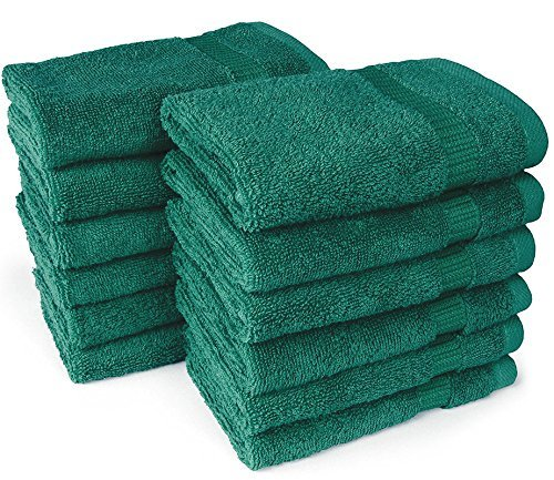IZO.Bath - 12 Pack 12''x12'' Cotton Fingertip-Hand-Face Towels- 100% Extra Soft Ring Spun Washcloths, Highly Absorbent Cleaning Cloth, Green