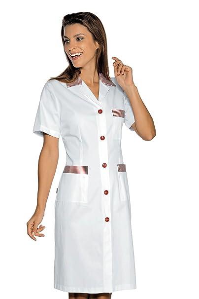 Isacco-Bata De Trabajo Positano, Color Blanco, 100% algodón, diseño De