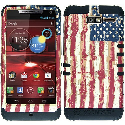 American USA US Flag HyBrid Rubber Soft Skin Hard Case Cover For Motorola Droid Razr M XT907 Razor with Free Pouch