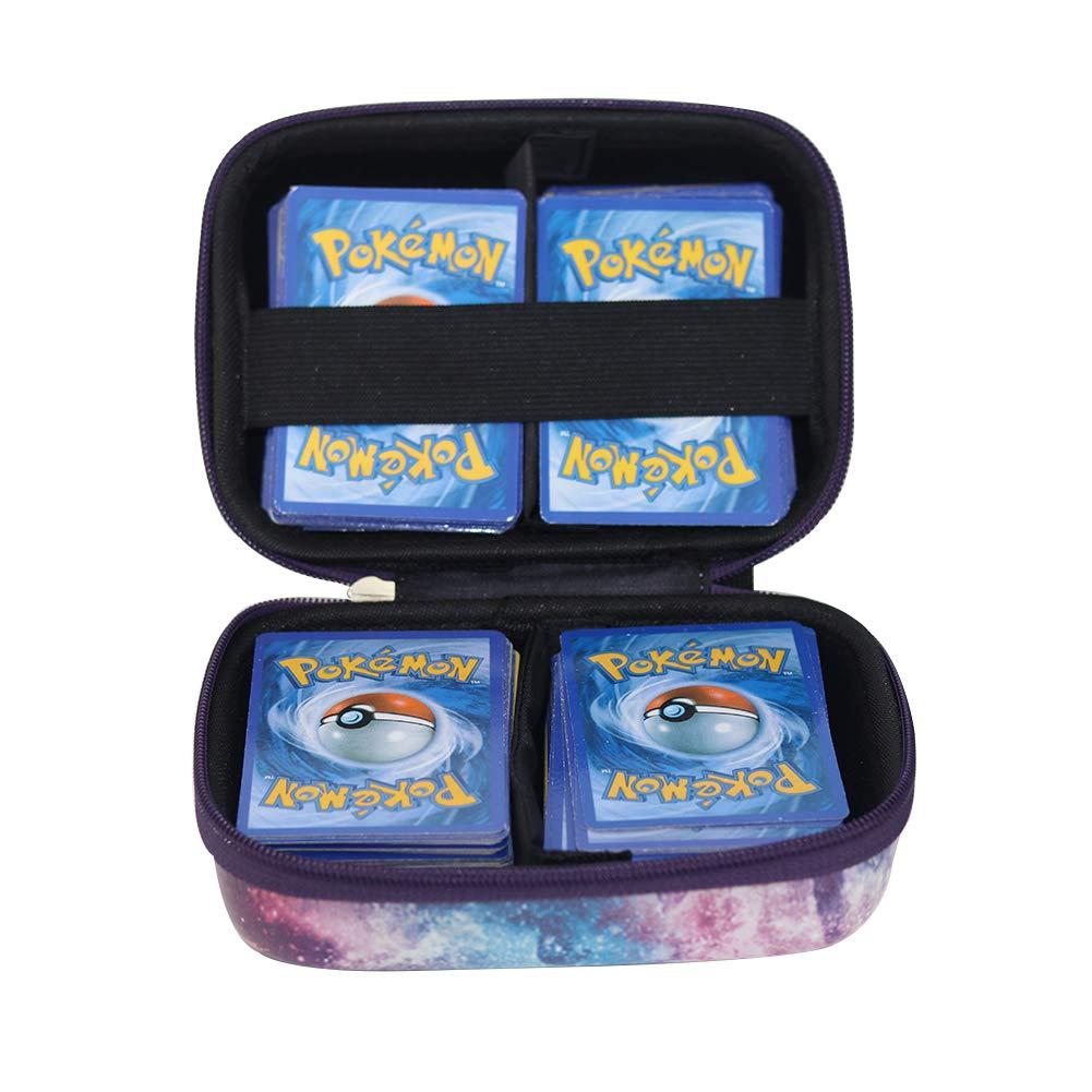 Brappo étui Rigide de Transport Voyage Sac de Rangement pour Pokemon Trading Cards, Porte-Cartes de Jeu avec séparateur Amovible (Noir)