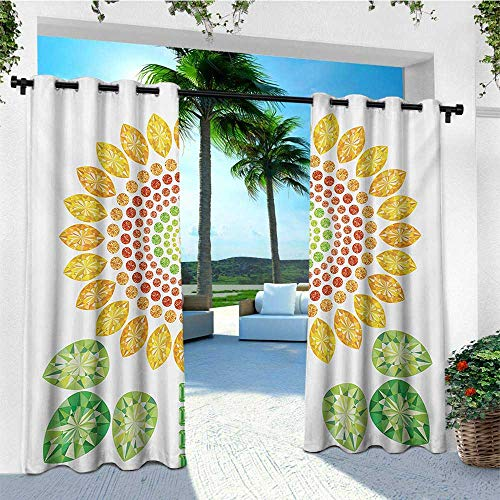 leinuoyi Sunflower, Outdoor Curtain Panels Set of 2, Round Sunflower Mandala Design with Diamond and Pearl Figures Print, Fashions Drape W96 x L96 Inch Yellow White and Green