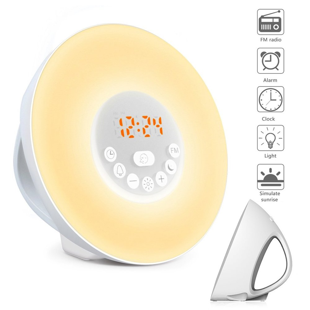 Alarm Clock/Wake Up Light-LBell Sunrise Simulation Alarm Clock, Clock Radio, 7 Colors Night Light with FM Radio, 7 Alarm Sounds and Snooze Function for Bedrooms with USB Charger by LBell