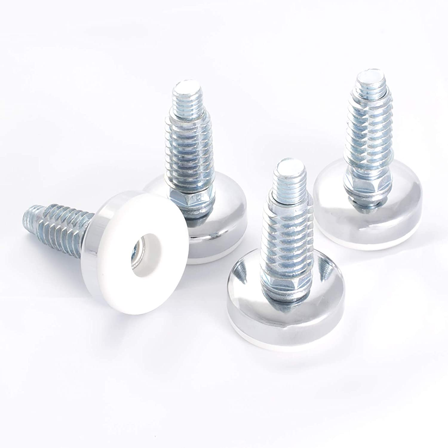 """POWERTEC 71189 3/8""""-16 Furniture Levelers with Threaded Inserts, 4PK, White"""