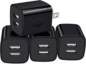 USB Wall Charger, Charger Box, NonoUV 4-Pack Dual Port Fast Charging Block Cube Plug Compatible with iPhone 11 Pro XR XS X 8 7 6 Plus, iPad, Samsung Galaxy S20+ S10 S9 Note 10 9, LG, Android, Kindle