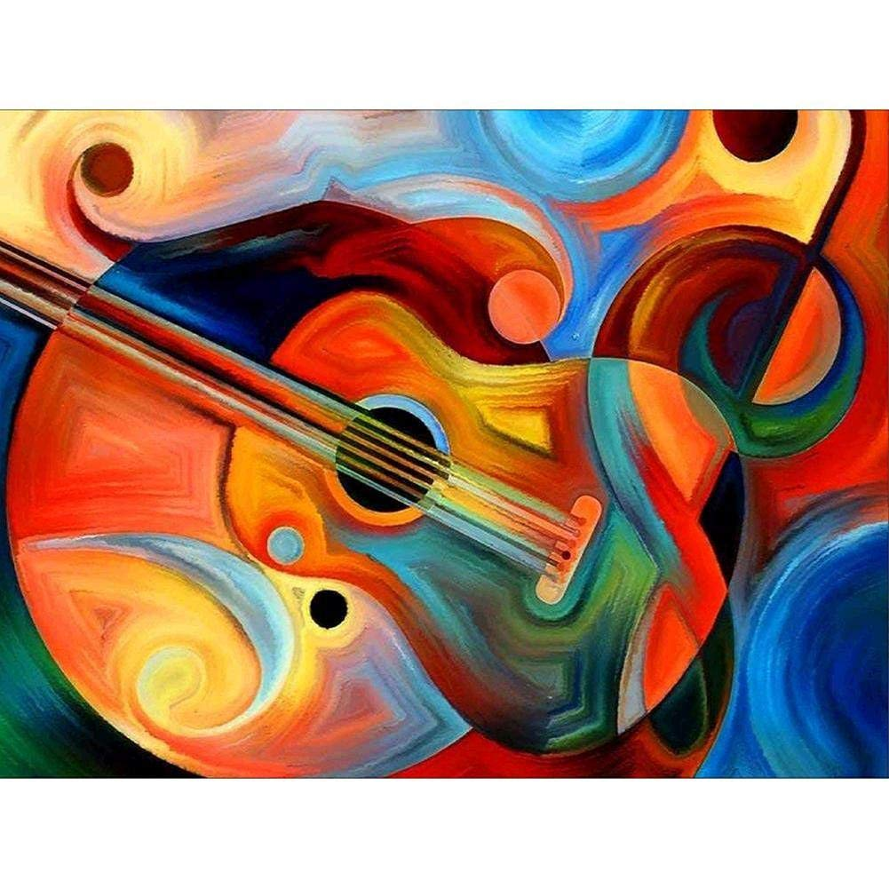 Adult Wooden Puzzle 1000 Pieces Abstract Guitar Pattern Unisex Games by TWJYDP