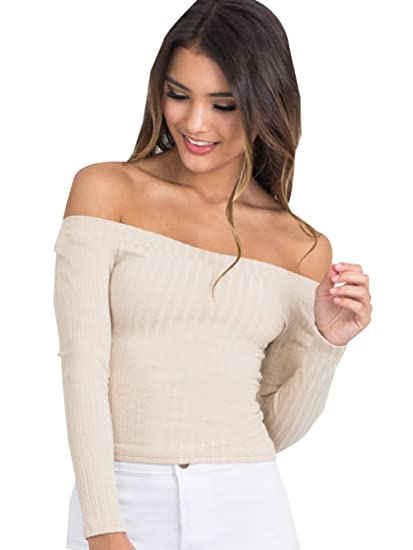 Womens Ribbed Knit Long Sleeve Off The Shoulder Blouse Crop Tops