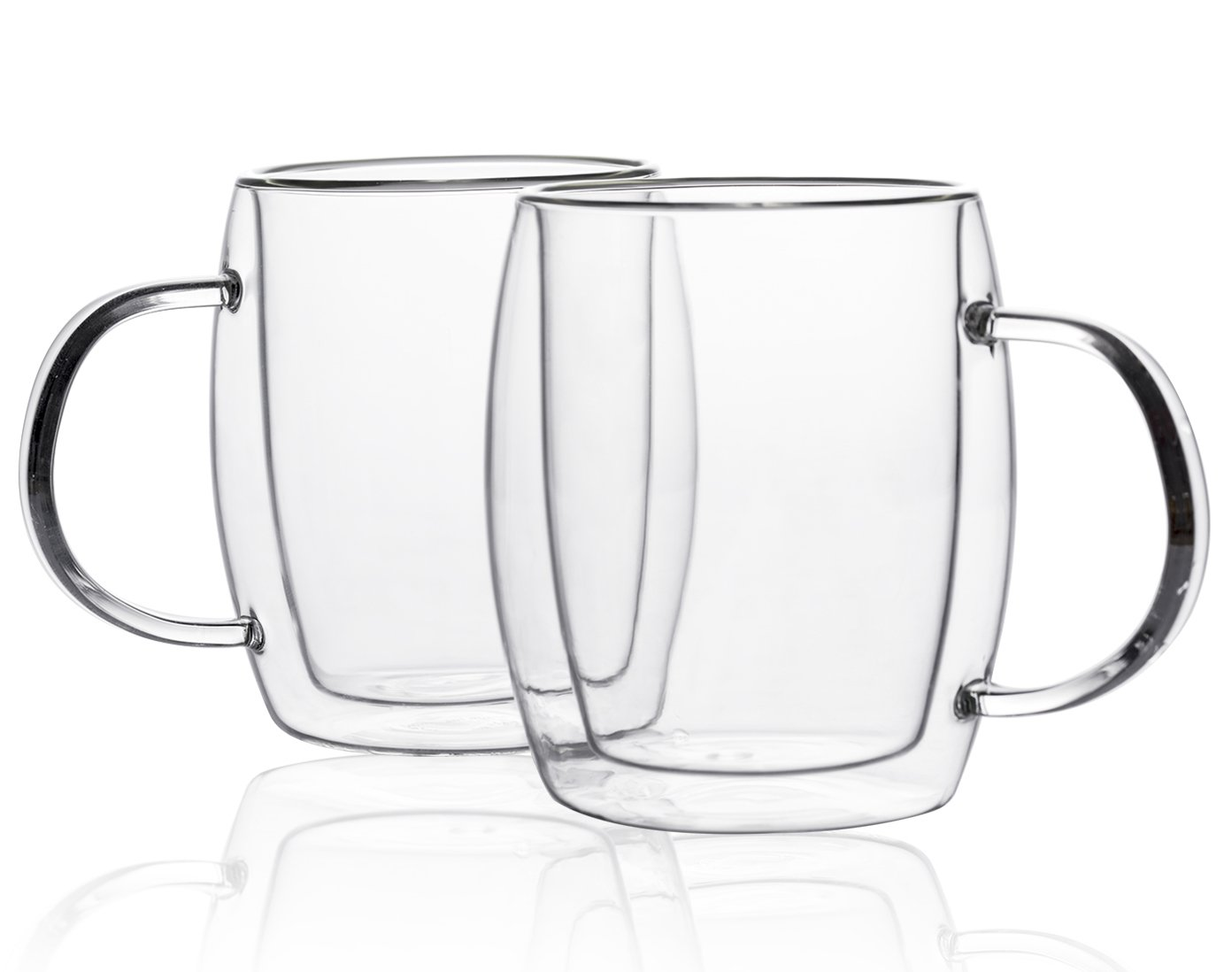 Insulated Glass Coffee Mugs 11.2 Qunce, Clear Tea Latte Drinking Cup Set of 2, Safe for Dishwasher and Microwave