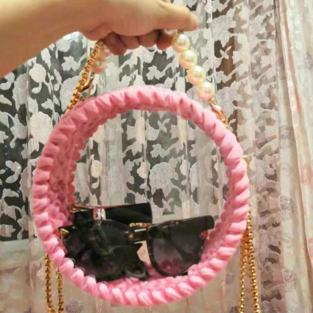 Acrylic transparent bag cloth hand-knitted crochet wool material package, pink acrylic material bag - with tool accessories