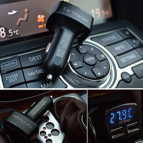 PolarLander 4 en 1 3.1A Dual USB Display Chargeur voiture numérique ampèremètre Thermomètre voltmètre électrique Tension compteur Moniteur delicate