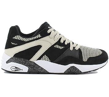 acf4e838c61913 Puma BLAZE TECH Chaussures Mode Sneakers Homme Cuir Suede Noir Beige  Trinomic