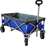 Eurmax Sports Collapsible Sturdy Steel Frame Garden Carts on Wheels Utility Beach Wagon Cart,Bonus 8x8Ft Picnics Mat